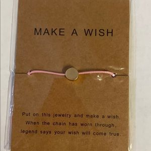Make A Wish Bracelet, pink with gold circle